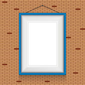 Frame for paintings  on the brick wall — Stock Vector