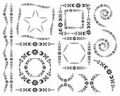 Set of vector decorative elements and brush — Vetorial Stock
