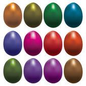 Conjunto de coloridos huevos de pascua — Vector de stock