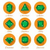 Gems icons set — Stock Vector