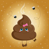 Cute turd with a bow and flies.  — Stock Vector