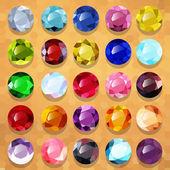 Set di pietre preziose multicolori tondi — Vector de stock