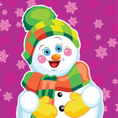 Snowman on green background with patterns.  — Vetorial Stock