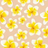 Seamless pattern yellow plumeria — Stock Vector
