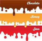 Chocolate, honey, jam drips — Stock Vector