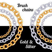 Set of chains metal brushes — Vettoriale Stock