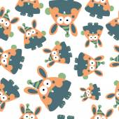 Rabbits seamless pattern — Stock Vector