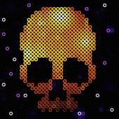 Skull gold. Beads, sequins.  — Stock Vector