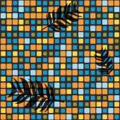 Plazas colores y hojas de palma. — Vector de stock