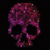 Skull pink. Beads, sequins.  — Stock Vector