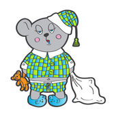 Sleepy bear in pajamas with a pillow and soft toy his hands. Vector character — Stock Vector