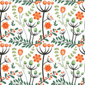 Leaves, twig, flowers, floral pattern. — Stok Vektör