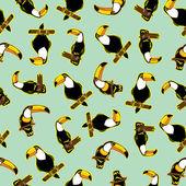 Seamless exotic brazil toucan bird background pattern in vector — Stock Vector