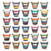 Colorful owls Vector set on white background — Stock vektor