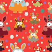 Rabbits seamless background. — Stock Vector