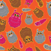 Seamless pattern with colored owls. — Stok Vektör