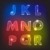 Neon glow alphabet. Vector. — Vector de stock