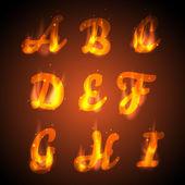 Fire alphabet. — Stock Vector