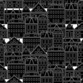老式的房子。无缝背景. — 图库矢量图片
