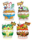 Seasons cupcakes — Stock Vector