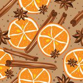 Cinnamon and oranges, kitchen background. — Stock Vector