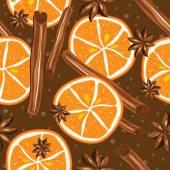 シナモンとオレンジ、キッチンの背景. — ストックベクタ