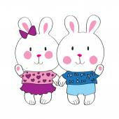 Cute bunny with love letter — Stockvector