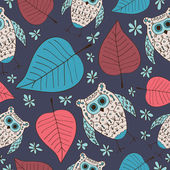 Seamless pattern with colored owls — Stock Vector