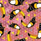 Seamless exotic brazil toucan birds — Stock Vector