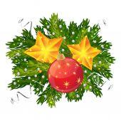 Christmas ball and stars — Stock Vector