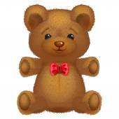 Teddy bear vector brown with a red bow. — Stock Vector