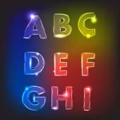 Neon glow alphabet. Vector. — Stock Vector