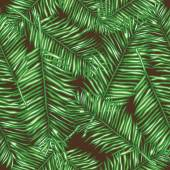 Palm leaves seamless  background. — Stock Vector