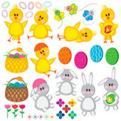 Set of Easter elements — Vector de stock