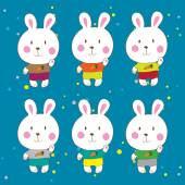 Funny bunnies on a white background Vector characters. — Stock Vector