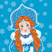 Snow Maiden on a blue background with white snowflakes.  — Stock Vector