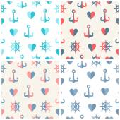 Navy vector seamless patterns set anchor, steering wheels and hearts — Stockvector