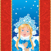 Snow Maiden  with white snowflakes. — Stock Vector