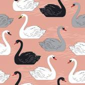 Swans. Seamless vector pattern. Template for design. — Stock Vector