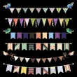 Retro bunting and garland set — Stock Vector #52599985