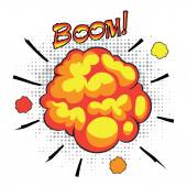 Comic book speech bubbles depicting of sounds explosions with motion puffs. — Stock Vector