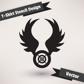 T-Shirt Stencil Design vector illustration. Template for your design — Stok Vektör