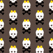 Skull with a bow, seamless pattern. Vector background — Stock Photo #53577861