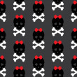 Skull with a bow, seamless pattern. Vector background — Stock Photo #53577863