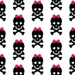 Skull with a bow, seamless pattern. Vector background — Stock Photo #53577867