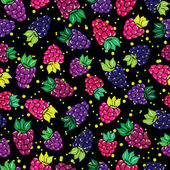 Decorative pattern with wild and garden berries Seamless background — Vetorial Stock