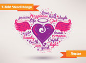 Heart with wings. T-Shirt Stencil Design vector illustration. — Stock vektor