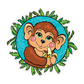 Funny monkey with a banana in her hand. In the frame of leaves. — Stock Vector