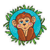 Funny monkey girl shy. As part of the leaf — Stockvector