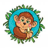 Funny monkey with a banana in her hand. As part of the leaf. — Stockvector